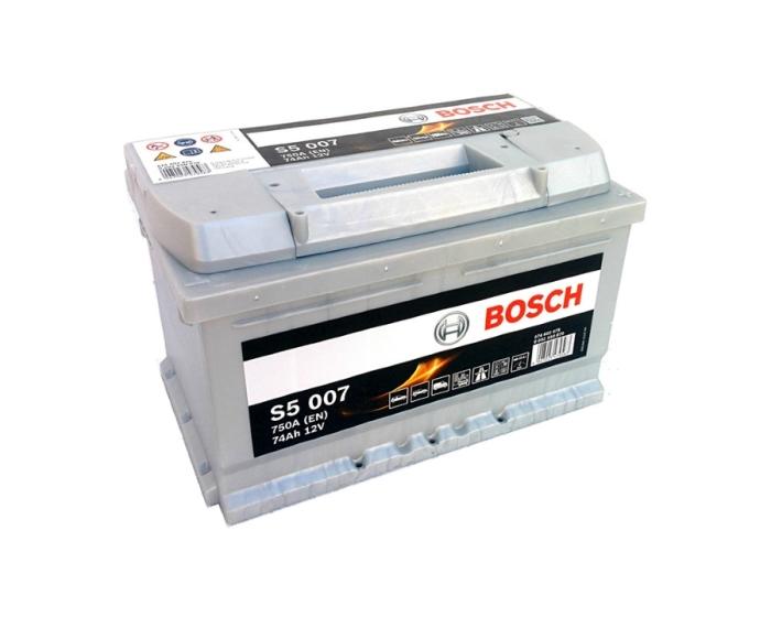 Купить аккумулятор автомобильный в Воронеже Bosch S5 007 74 А/ч о.п. низкий