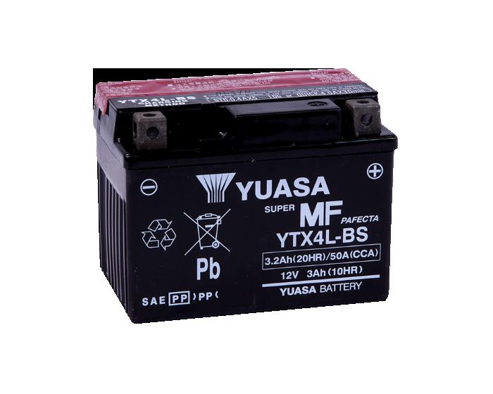 Японский мото аккумулятор Yuasa YTX4L-BS AGM 3.2 А/ч купить в Воронеже