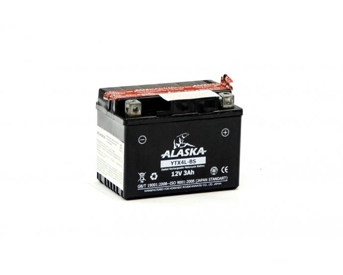 Мото аккумулятор ALASKA YTX4L-BS AGM 3 А/ч купить в Воронеже