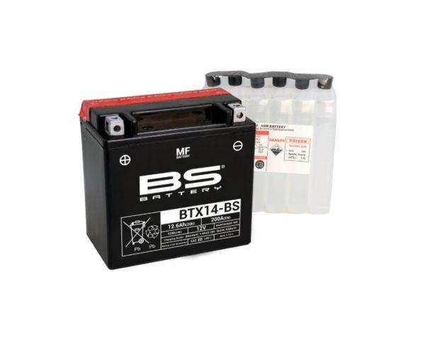 Аккумулятор для мотоциклов, снегоходов, квадроциклов BS Battery BTX14-BS (YTX14-BS) AGM 12 А/ч в Воронеже купить