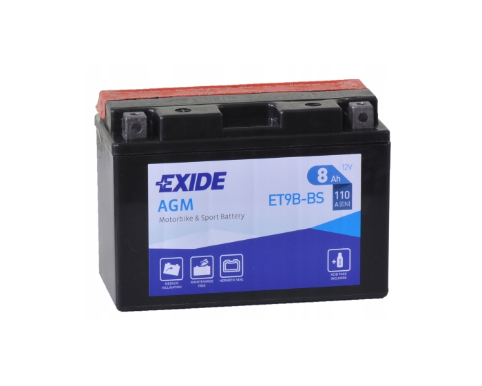 Аккумулятор для квадроцикла в Воронеже купить Exide ET9B-BS (YT9B-BS) AGM 8 А/ч