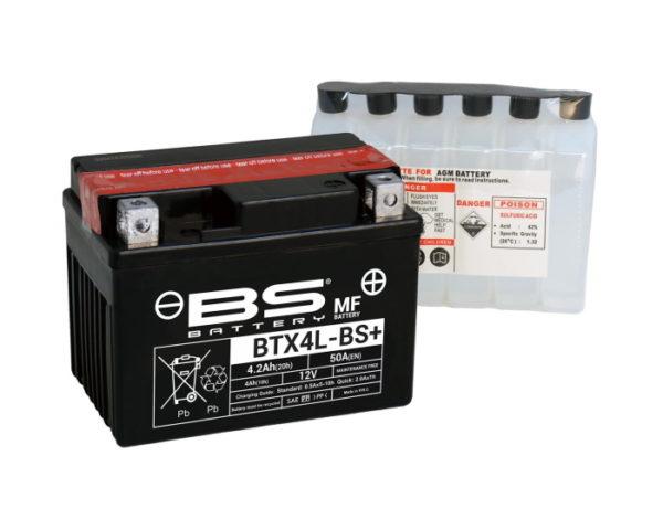 аккумулятор для мотоцикла BS Battery BTX4L-BS (YTX4L-BS) AGM 4 А/ч в Воронеже купить