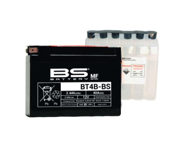 Аккумулятор для мотоциклов BS Battery BT4B-BS (YT4B-BS) AGM 2,4 А/ч в Воронеже купить