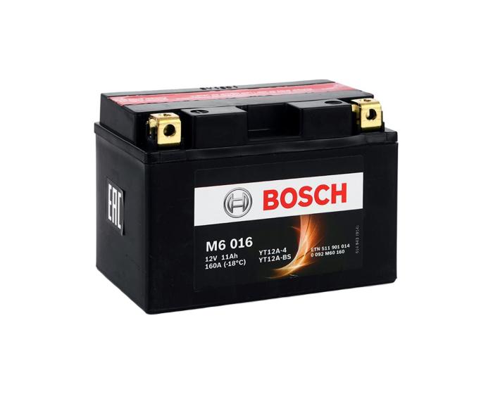 Мото аккумулятор Bosch M6 016 YT12A-BS AGM 11 А/ч в Воронеже купить